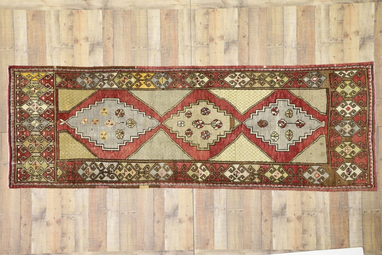 Vintage Turkish Oushak Hallway Runner with Craftsman Tribal Style For Sale 6