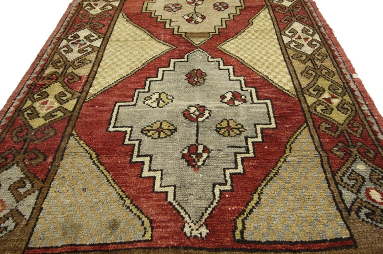 Vintage Turkish Oushak Hallway Runner with Craftsman Tribal Style For Sale 9
