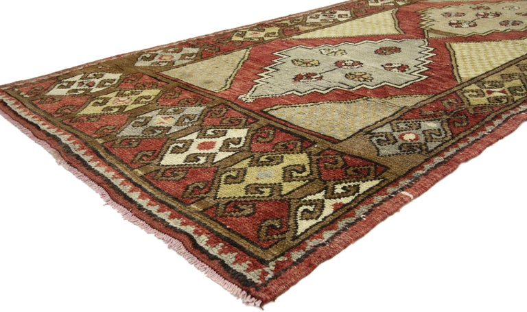 Vintage Turkish Oushak Hallway Runner with Craftsman Tribal Style For Sale 7