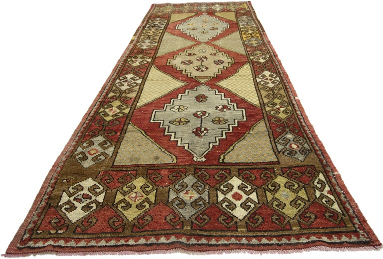 Vintage Turkish Oushak Hallway Runner with Craftsman Tribal Style For Sale 8