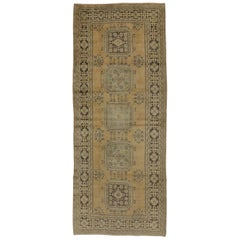 Vintage Turkish Oushak Hallway Runner with Gustavian or French Country Style