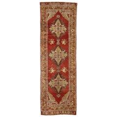 Vintage Turkish Oushak Hallway Runner with Jacobean Style
