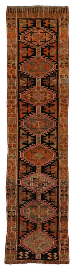 Vintage Turkish Oushak Hallway Runner with Rustic Arts & Crafts Style