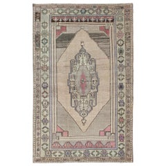 Vintage Turkish Oushak in Gray, Khaki, Taupe, Green, Purple, and Pink