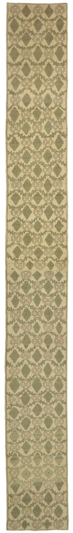 Vintage Turkish Oushak Long Hallway Runner with Queen Anne Late Victorian Style