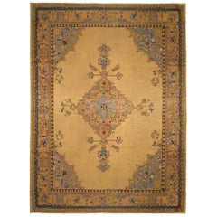 Vintage Turkish Oushak Oriental Rug, in Room Size, with Medallion on Open Field