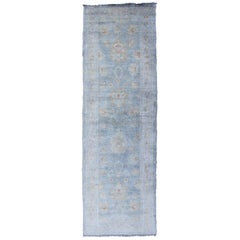 Vintage Turkish Oushak Over-Dyed Runner in Gray-Blue