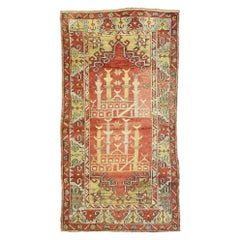 Vintage Turkish Oushak Prayer Rug, Anatolian Prayer Rug