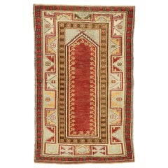 Vintage Turkish Oushak Prayer Rug
