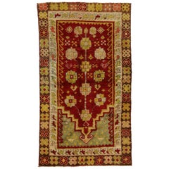 Vintage Turkish Oushak Prayer Rug, Kitchen, Foyer or Entry Rug