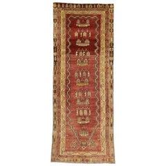Vintage Turkish Oushak Prayer Rug Runner, Modern Style Wide Hallway Runner