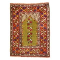 Vintage Turkish Oushak Prayer Rug with Craftsman Style