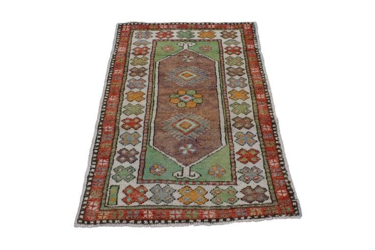 Vintage türkischer Oushak Teppich, bunter Teppich für Küche, Bad, Foyer  oder Eingangsbereich