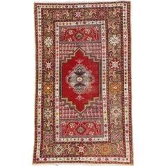 Vintage Turkish Oushak Rug, Entry or Foyer Rug