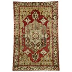 Vintage Turkish Oushak Rug for Entry, Kitchen, Foyer, or Bathroom