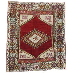 Vintage Turkish Oushak Rug for Kitchen, Bath, Foyer or Entryway