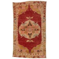 Vintage Turkish Oushak Rug for Kitchen, Bath, Foyer or Entryway Rug