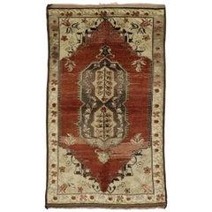 Vintage Turkish Oushak Rug for Kitchen, Bathroom, Foyer or Entry