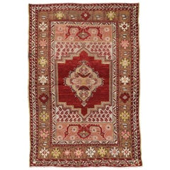 Vintage Turkish Oushak Rug for Kitchen, Bathroom, Foyer or Entry Rug