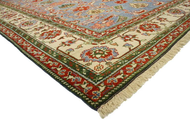 Hand-Knotted Vintage Turkish Oushak Rug For Sale