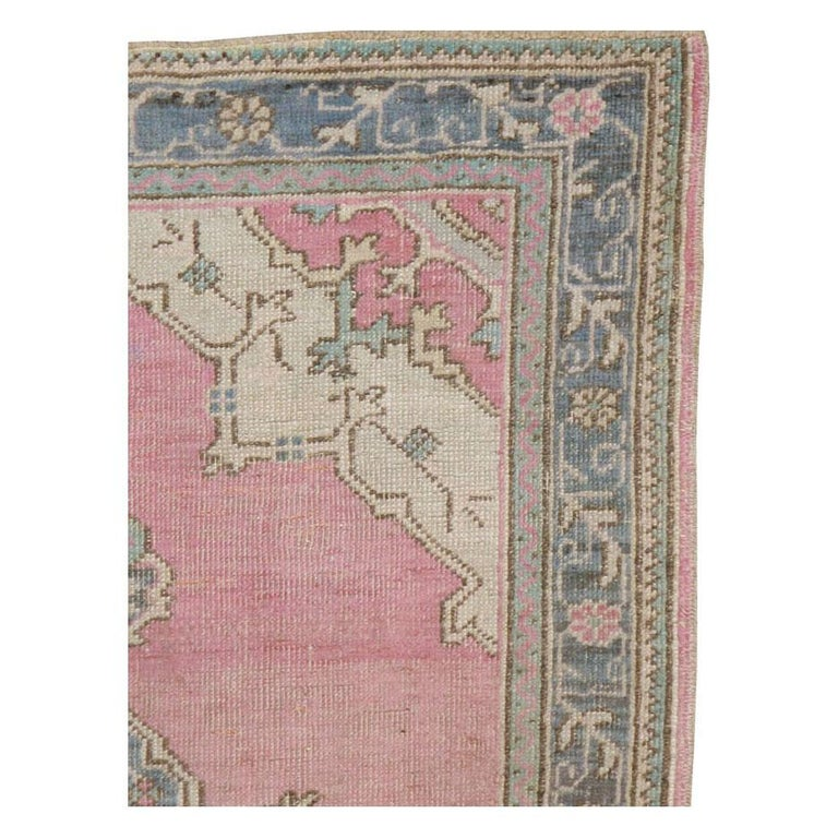 Victorian Midcentury Handmade Turkish Oushak Throw Rug In Pink and Blue-Grey For Sale