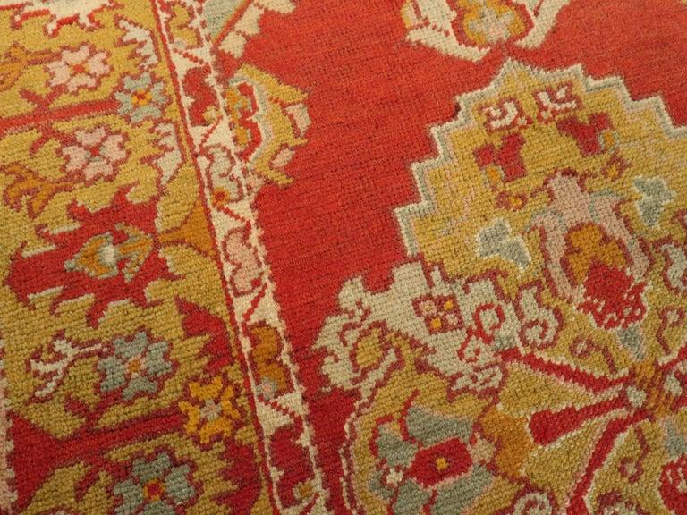 Wool Vintage Turkish Oushak Rug For Sale