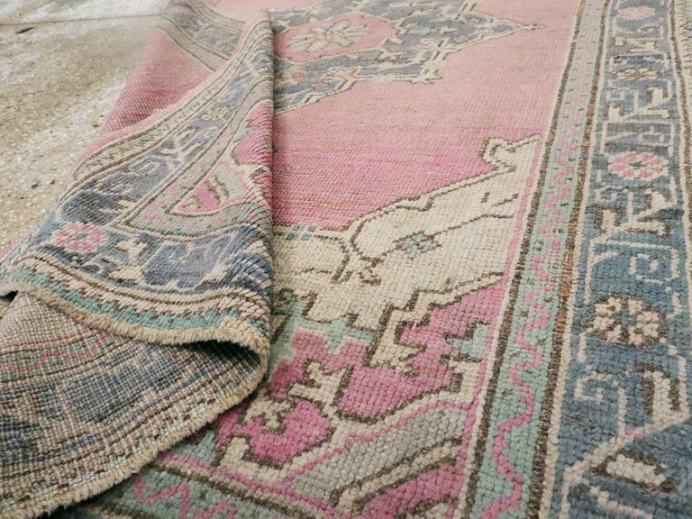 Midcentury Handmade Turkish Oushak Throw Rug In Pink and Blue-Grey For Sale 1