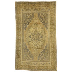 Vintage Turkish Oushak Rug Gustavian Swedish Style