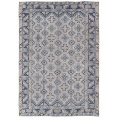 Vintage Turkish Oushak Rug in Blue with All-Over Geometric Design in Gray & Blue