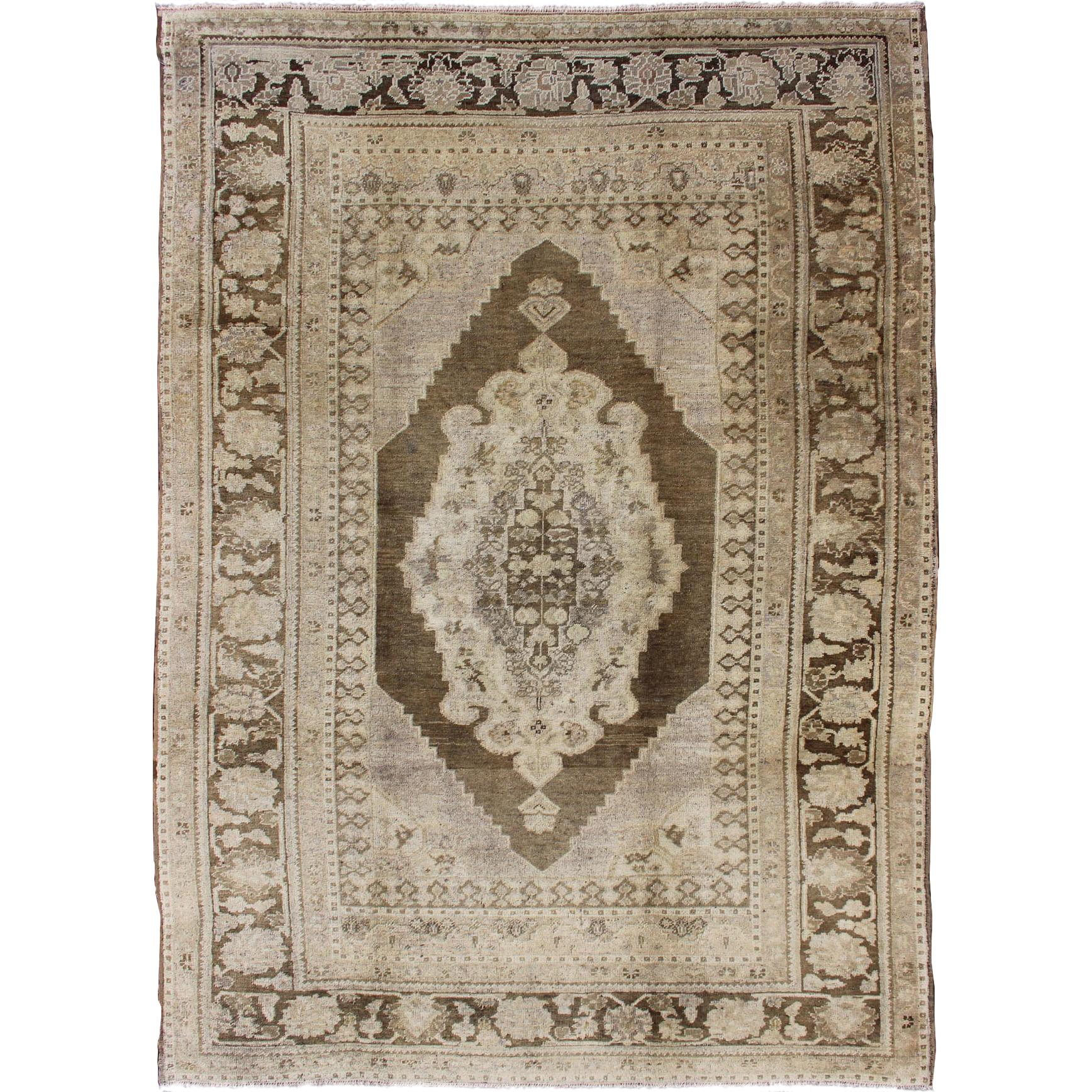 Vintage Turkish Oushak Rug in Brown/Green, Taupe and Neutral Colors