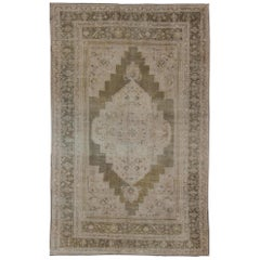 Vintage Turkish Oushak Rug in Mocha Green and Muted Tones