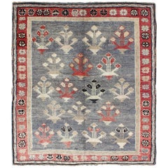 Vintage Turkish Oushak Rug in Red, Gray, Blue-Gray, Taupe and Ivory