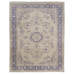 Vintage Hand-knotted Turkish Oushak Rug in Soft Colors