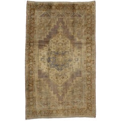 Vintage Turkish Oushak Rug in Traditional Style, Turkish Oushak Gallery Rug
