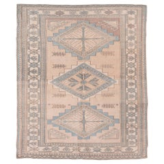 Vintage Turkish Oushak Rug, Ivory and Sand Field, Light Blue Accents, Square