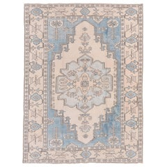 Vintage Turkish Oushak Rug, Light Blue, White and Ivory Tones