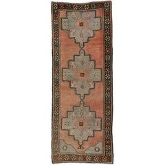 Vintage Turkish Oushak Rug Runner with Amulet Design, Wide Hallway Runner