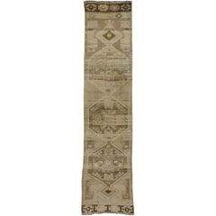 Vintage Turkish Oushak Hallway Runner with Mid-Century Modern Tribal Style