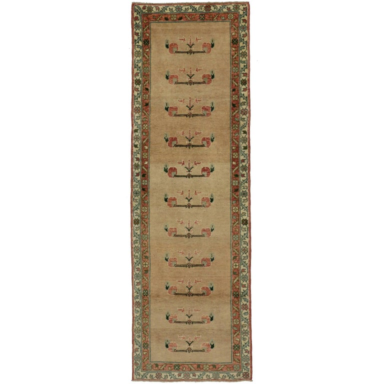 Vintage Turkish Oushak Rug Runner with Traditional Style, Hallway Runner