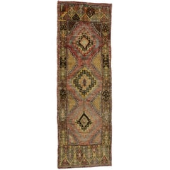 Vintage Turkish Oushak Rug Runner, Wide Hallway Runner