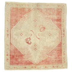 Vintage Turkish Oushak Rug, Small Square Accent Rug