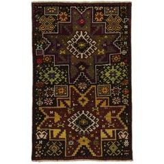 Vintage Turkish Oushak Rug, Tribal Rug for Kitchen, Bath, Foyer or Entryway