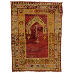 Vintage Turkish Oushak Rug, Turkish Prayer Rug