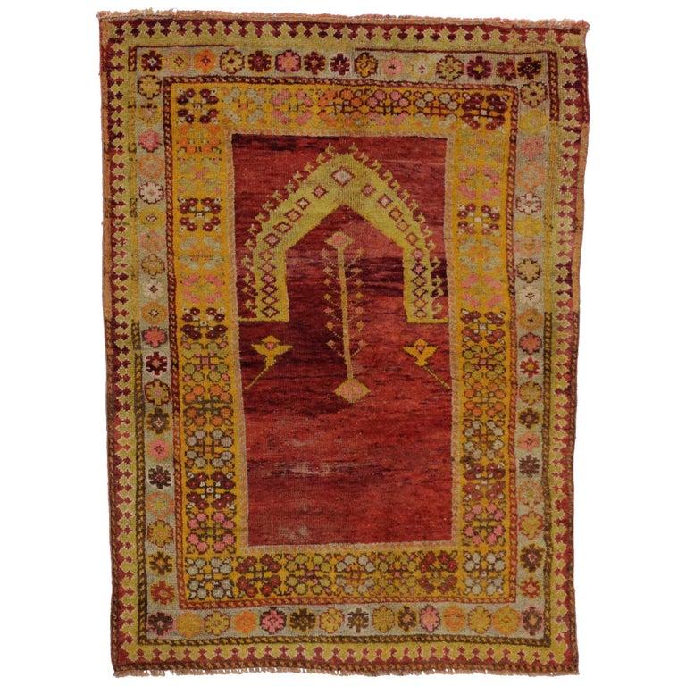 Oushak Rugs For Sale: Vintage Turkish Oushak Rug, Turkish Prayer Rug For Sale At