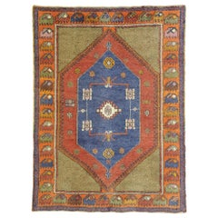 Vintage Turkish Oushak Rug with Art Deco Style and Tribal Vibes