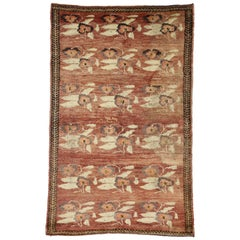 Vintage Turkish Oushak Rug with Art Deco Style
