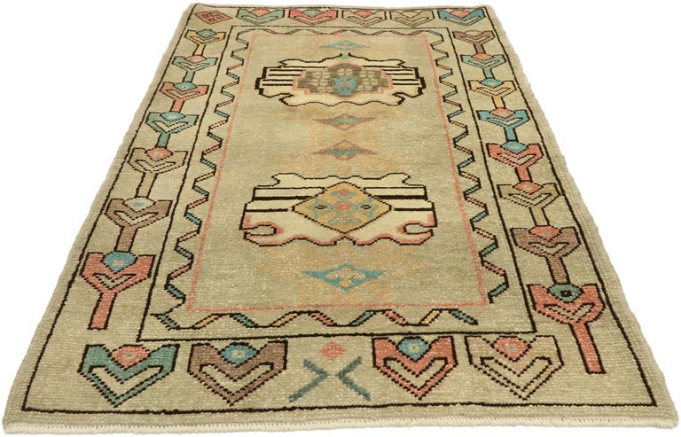 Hand-Knotted Vintage Turkish Oushak Rug with Bohemian Swedish Gustavian Farmhouse Style For Sale