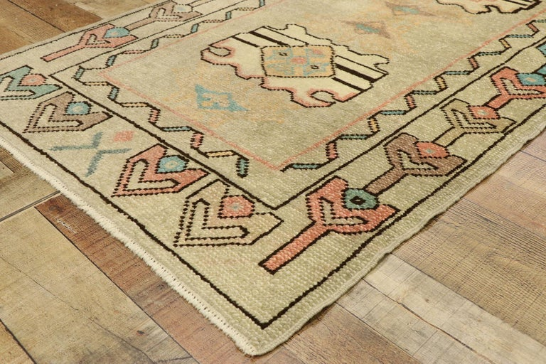 Wool Vintage Turkish Oushak Rug with Bohemian Swedish Gustavian Farmhouse Style For Sale