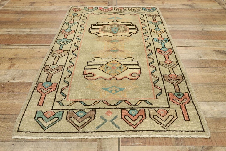 Vintage Turkish Oushak Rug with Bohemian Swedish Gustavian Farmhouse Style For Sale 1