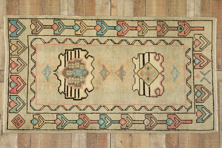Vintage Turkish Oushak Rug with Bohemian Swedish Gustavian Farmhouse Style For Sale 2